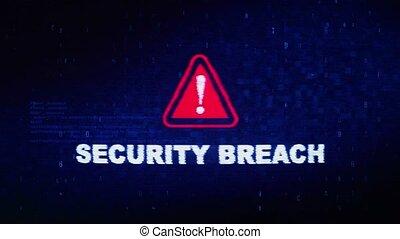 Security Breach Text Digital Noise Twitch Glitch Distortion Effect Error Animation.