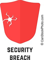 security breach with red abstract shield. simple flat style ...