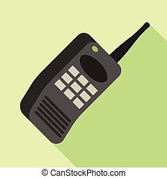 Security button phone icon, flat style