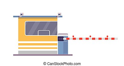 Security cabin and gate,isolated on white background