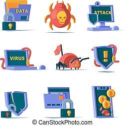 security., cadenas, cyber, données, vecteur, serveur, coupe-feu, sécurité, réseau, sécurité, ligne, propre, icônes, plat