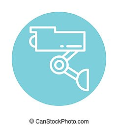 security camera, block and flat style icon