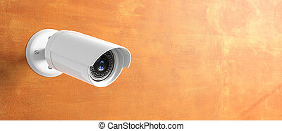 Security Camera CCTV isolated on wall background. 3d...
