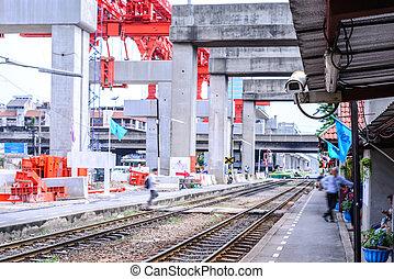 Security camera cctv monitoring railway station.