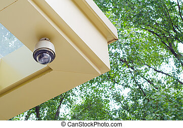 CCTV security camera on the wall
