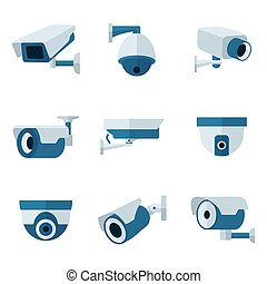 Security camera, CCTV vector flat icons set