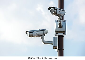 Security Camera CCTV with blue sky