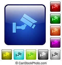 Security camera color square buttons