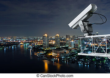 Security camera detects the movement of traffic along Chao Phraya River.