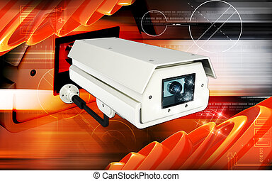 Security camera - Digital illustration of security camera in...