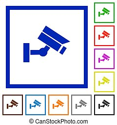 Security camera flat framed icons