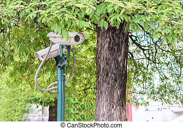 Security camera for monitoring travel place.