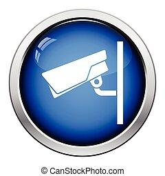 Security camera icon. Glossy button design. Vector...