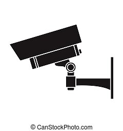 Security camera icon in black style isolated on white...