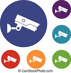 Security camera icons set
