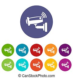 Security camera icons set color