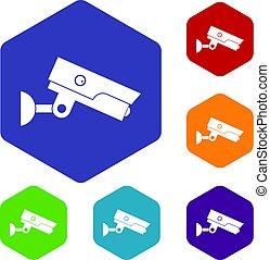 Security camera icons set hexagon
