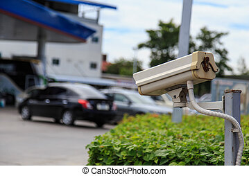 Security camera in petrol station