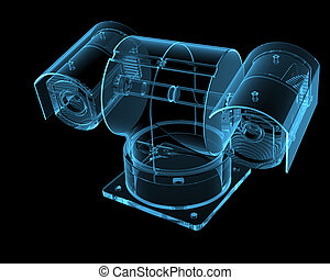 Security camera isolated on black - Security camera (3D xray...