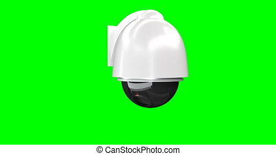 Security camera on green background. Isolated 3D render