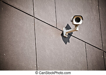 Security camera on office building wall