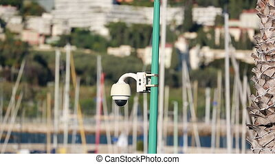 Security Camera on Pole in Harbor in France