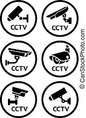 Security camera pictograms set