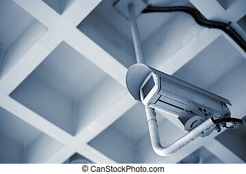 Security camera in the public place of buildings.