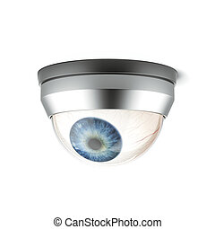 security camera with blue eye isolated on a white...