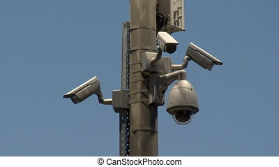 Security cameras in the evening in the city. - Security ...