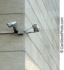 Security cameras on the wall