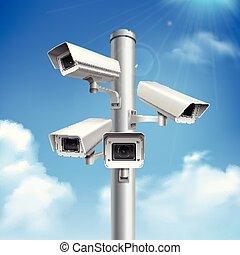 Security Cameras Realistic Composition