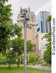 Security CCTV camera in public park