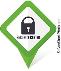 Security center green square pointer web and mobile phone vector icon in eps 10 on white background with shadow