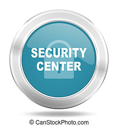security center icon, blue round glossy metallic button, web and mobile app design illustration