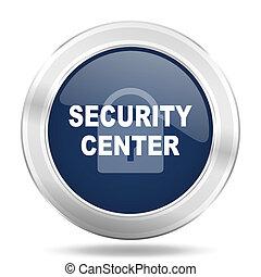 security center icon, dark blue round metallic internet button, web and mobile app illustration