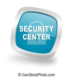 security center square blue glossy chrome silver metallic web icon