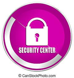 Security center web design violet silver metallic border internet icon.