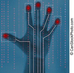 Security abstract of biometric hand scan - blue and red
