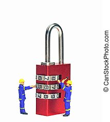 Security concept with engineers checking a combination padlock