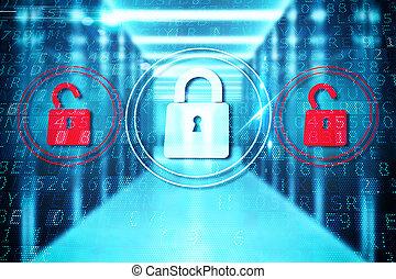 Security closed padlock