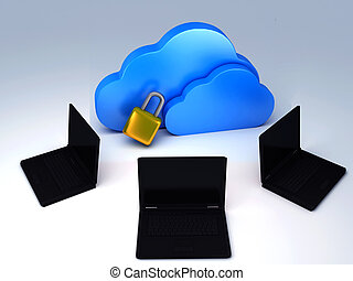 security cloud and notebook