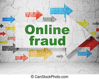 Security concept: arrow whis Online Fraud on grunge wall background