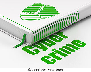 Security concept: book Broken Shield, Cyber Crime on white background