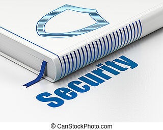 Security concept: book Contoured Shield, Security on white background