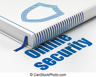 Security concept: book Contoured Shield, Online Security on white background