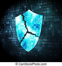 Security concept: broken shield on digital background