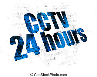 Security concept: CCTV 24 hours on Digital background