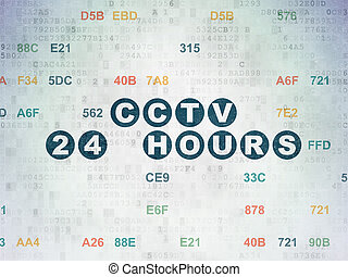 Security concept: CCTV 24 hours on Digital Data Paper background