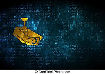 Security concept: Cctv Camera on digital background -...